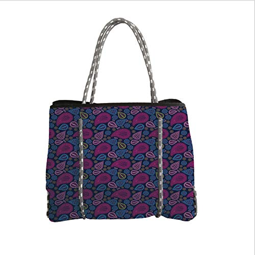 iPrint Neoprene Multipurpose Beach Bag Tote Bags,Ethnic,Asian Ethnic Paisley Design with Floral Swirls Leaf Detailed Colorful Artwork Image,Multicolor,Women Casual Handbag Tote Bags