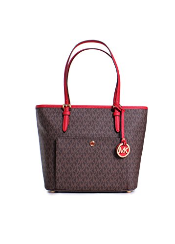 MICHAEL MICHAEL KORS Jet Set Travel Medium Canvas & Leather Tote, Brown/Bright Red