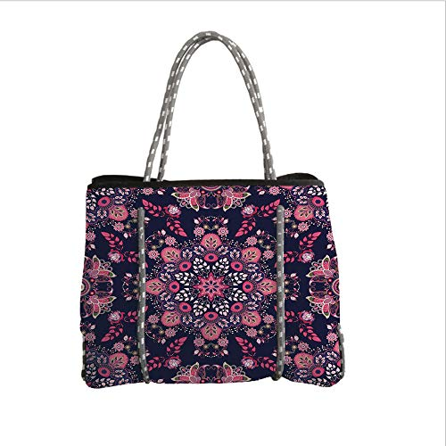 Neoprene Multipurpose Beach Bag Tote Bags,Ethnic,Ethnic Spring Nature Blossoms Abstract Traditional Style Exotic Fantasy Decorative,Indigo Pink Light Pink,Women Casual Handbag Tote Bags