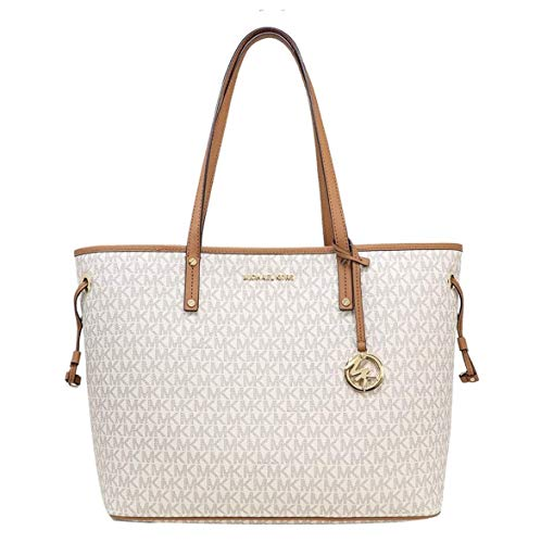 MICHAEL Michael Kors Jet Set Travel Large Tote MK Signature with Pouch – Vanilla