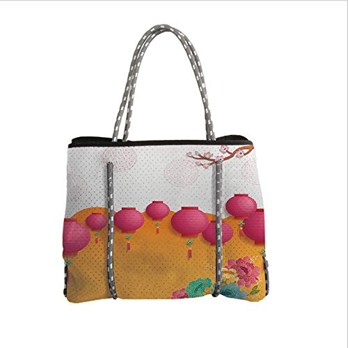 iPrint Neoprene Multipurpose Beach Bag Tote Bags,Lantern,Asian New Year Ceremony with Chinese Colorful Flowers Happy New Year Celebration Decorative,Multicolor,Women Casual Handbag Tote Bags