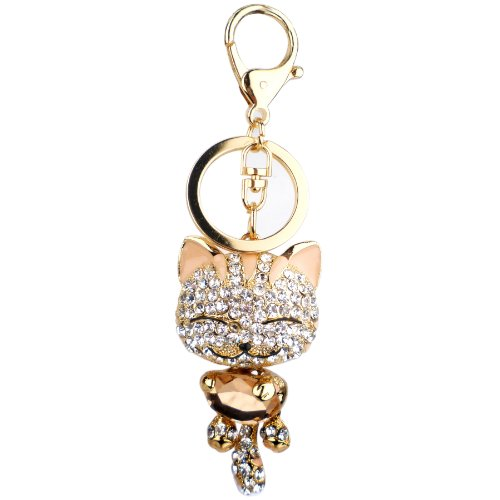 Pink Cute Kitten Bling Crystals Rhinestone Key Chain Keyring Holder Handbag Charm