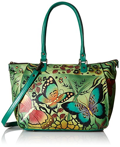Anna by Anuschka Genuine Leather Large Tote | Hand-Painted Original Artwork | Animal Butterfly