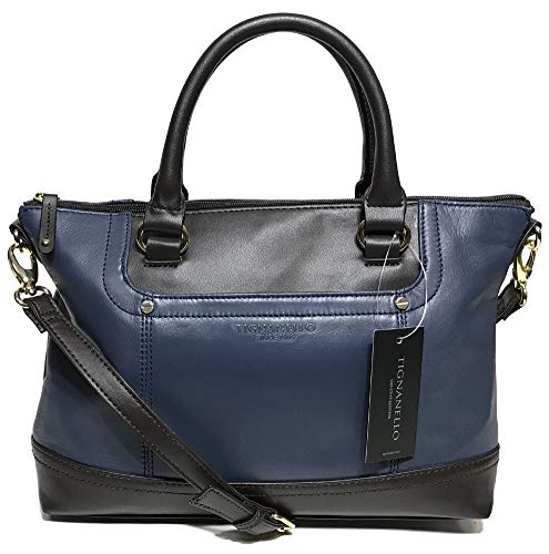 Tignanello Smooth Operator Conv. Satchel, Midnight/Dark Brown