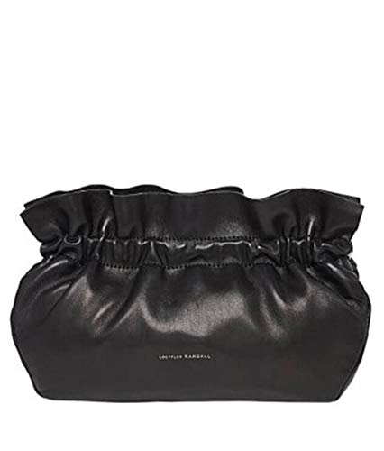Loeffler Randall Carrie Ruffle Frame Clutch Handbag in Black