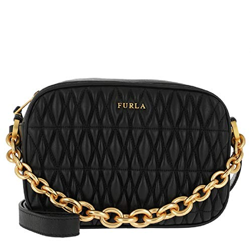 Furla Women's Cometa Onyx Black Leather Crossbody Bag Handbag Large