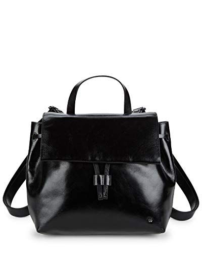 Halston Heritage Drawstring Leather Backpack, Black