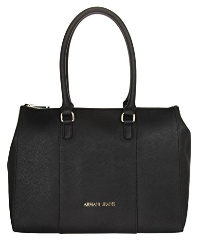 Women's Armani Jeans shopping bag model in eco leather black saffron. Double hand handle longer adjustable and removable shoulder strap, logo, inner pocket with zip