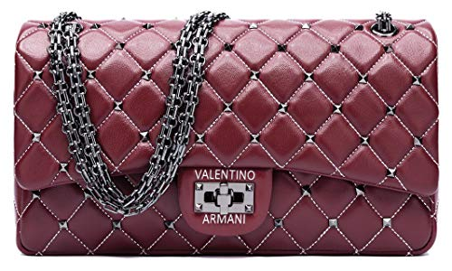 VALENTINO ARMANI Italian Fashion Designer. 100% Lamb Leather in&out. Luxury Shoulder Crossbody Handbag