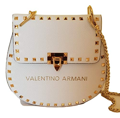 VALENTINO ARMANI Italian Fashion Designer. Luxury Brand. Shoulder Crossbody Calf Leather Handbag
