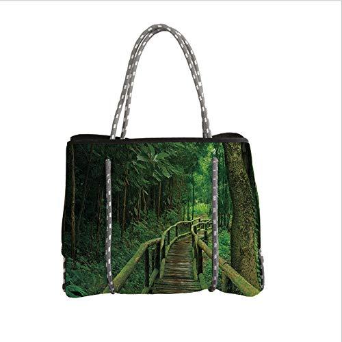 iPrint Neoprene Multipurpose Beach Bag Tote Bags,Jungle,Rainforest in Thailand Foliage Greenery Wooden Pathway Trekking Primeval Ancient,Green Brown,Women Casual Handbag Tote Bags