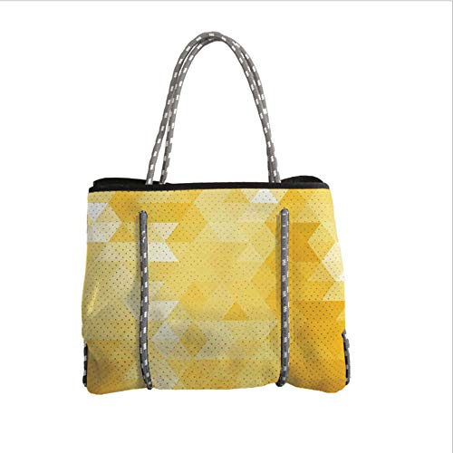 iPrint Neoprene Multipurpose Beach Bag Tote Bags,Yellow,Abstract Triangle Geometrical Shaded Patterns Modern Mosaic Crystal Illustration Motifs Home,Yellow,Women Casual Handbag Tote Bags