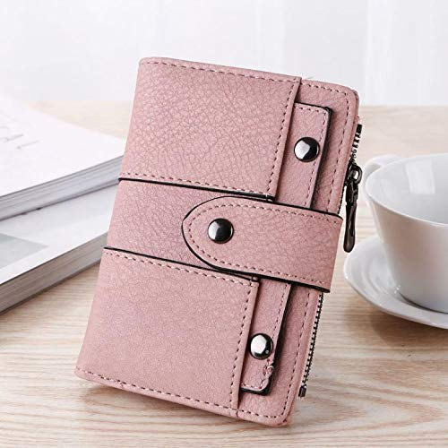 Fashion Women Simple Retro Rivets Short Wallet Coin Purse Card Holders Handbag (Color – Pink)