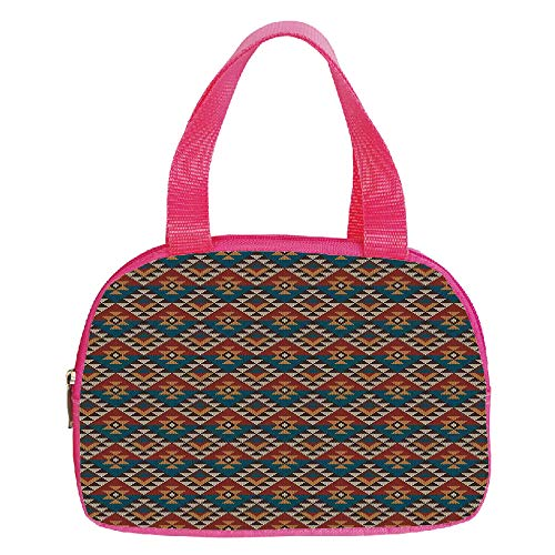 Multiple Picture Printing Small Handbag Pink,Checkered,Cross Checkered Pattern with Diagonal Strips and Rhombus Shapes Decorative,Dried Rose Ruby and White,for Girls,Comfortable Design.6.3″x9.4″x1.6″