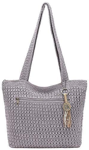 THE SAK Riveria Crochet Tote Handbag One Size Sea fog grey
