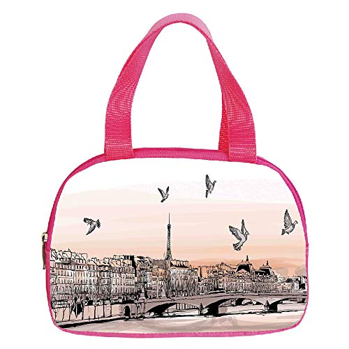 Polychromatic Optional Small Handbag Pink,Ancient China Decorations,Chinese Heritage Symbols Pagoda Great Wall Woman Portrait Sketch,Brown Cream,for Girls,Print Design.6.3″x9.4″x1.6″