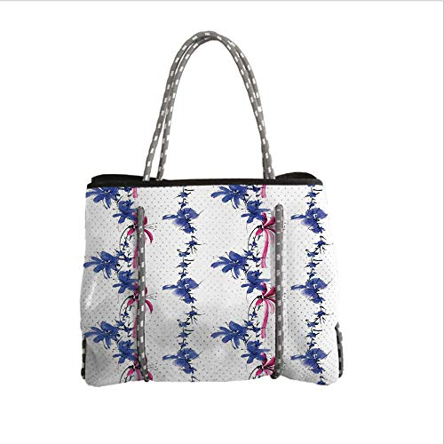 Neoprene Multipurpose Beach Bag Tote Bags,Traditional House Decor,Irises in Watercolor in Native Asian Effects Blossoms Spring Eastern,Purple,Women Casual Handbag Tote Bags