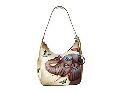 Anuschka Women's Genuine Leather Handbag | Classic Hobo With Side Pocket | Gentle Giant