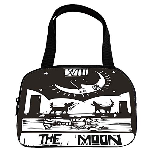 Multiple Picture Printing Small Handbag Pink,Moon,Black and White Drawing Style Lobster Wolves Crescent Moon Stars Tarot Card Design Decorative,Black White,for Girls,Comfortable Design.6.3″x9.4″x1.6″