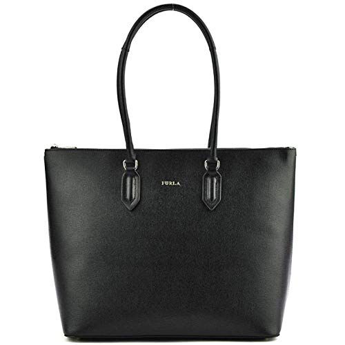 Furla Pin Large Leather Shopping Shoulder bag, ONYX