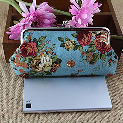 Vintage Lady Womens Floral print Wallet Clutch Purse Long Handbag Bag (Color – Blue)