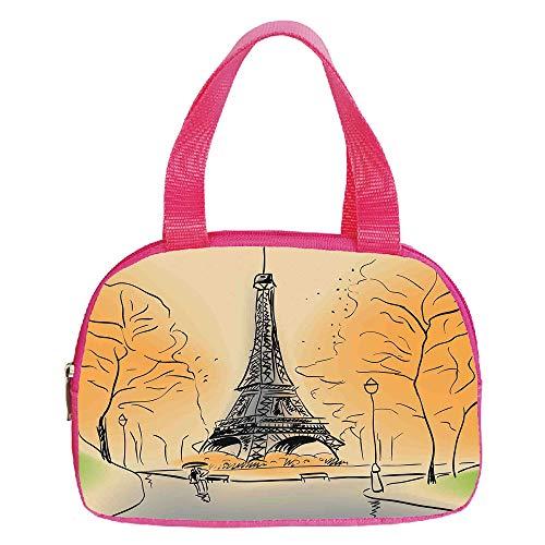 iPrint Increase Capacity Small Handbag Pink,Dragonfly,Romantic Vintage Sketch in Pastel Grass Birthday Grunge Grass Botany Artwork Decorative,Seafoam Tan,for Girls,3D Print Design.6.3″x9.4″x1.6″