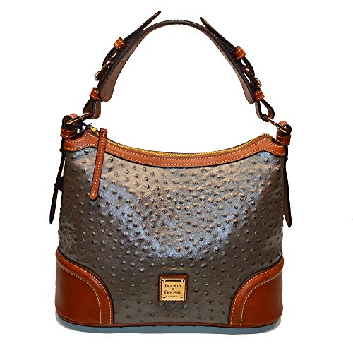 Dooney and Bourke Ostrich Emb Leather Hobo Pewter