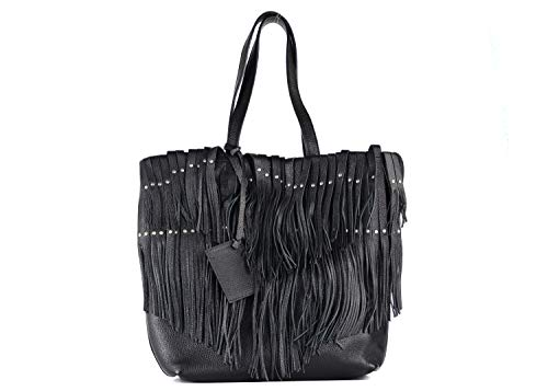 Roberto Cavalli Women's Black Grained Leather Fringe Tote Handbag