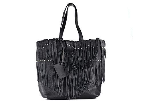 Roberto Cavalli Women's Black Grained Leather Fringe Tote Handbag