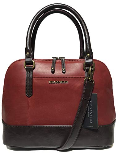 Tignanello Bleecker St. Accordian Satchel, Rouge/Brown