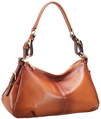 Heshe 2014 New Genuine Leather Tote Cross Body Shoulder Bag Handbag for  Women (Orange) 1ce40e85ebf60