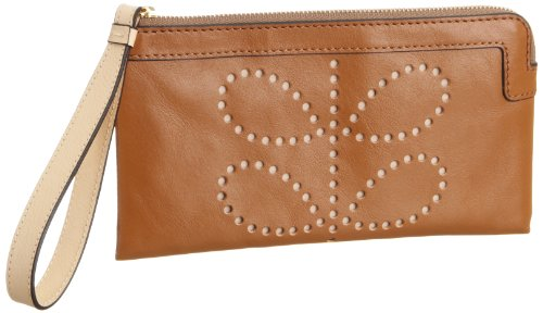 Orla Kiely Structured Stem Leather Flat Zip Purse – Toffee