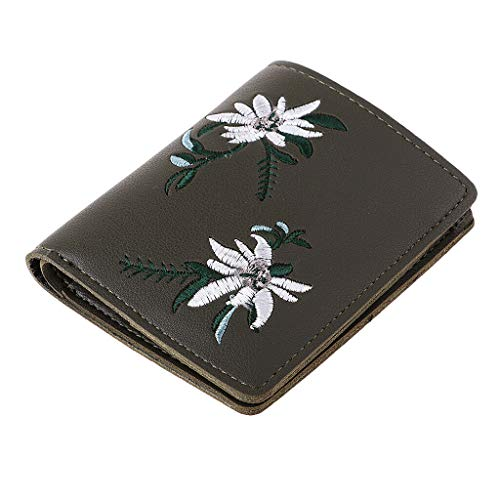 Fashion Floral Women Coin Purse Card Holder Wallet Handbag Pouch Money Bag (Color – Deep Green)