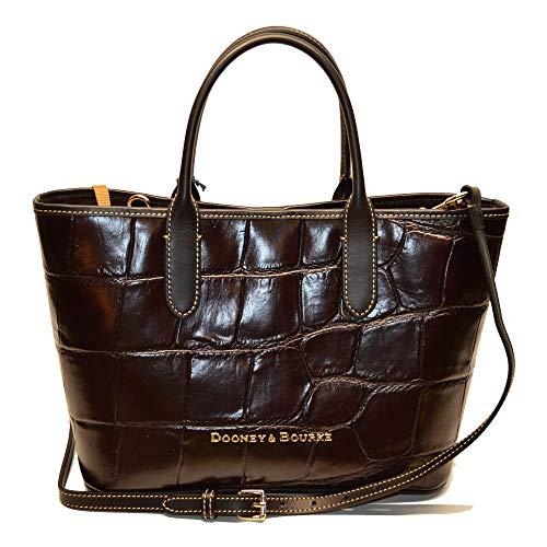 Dooney and Bourke Brielle satchel Croco Emb Leather Espresso/Black