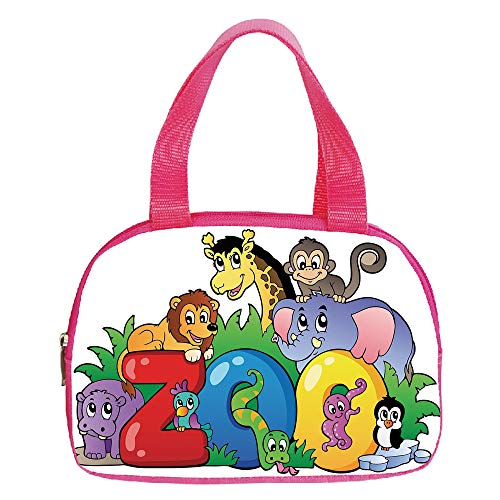 Polychromatic Optional Small Handbag Pink,Zoo,Zoo Sign with Various Animals Mascot Cartoon Characters Cute Playful Kids Room Print Decorative,Multicolor,for Girls,Print Design.6.3″x9.4″x1.6″