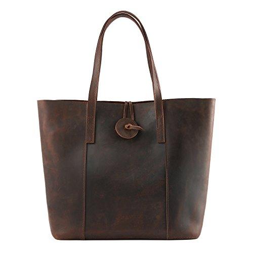 Kattee Women's Vintage Cow Leather Tote Shopper Shoulder Bag Coffee