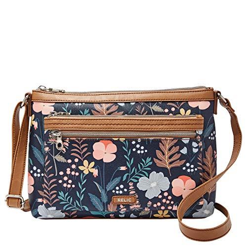 Relic by Fossil Women's Evie Crossbody Handbag Purse, Color: Navy Floral