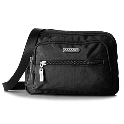 Baggallini Multi Pocket Crossbody/Waist Bag for Women – Highly Functional, Durable Design for Travel, Sightseeing, or Shopping – Great Utility Purse – Optimal Organizational and Accessibility (Black/Khaki)