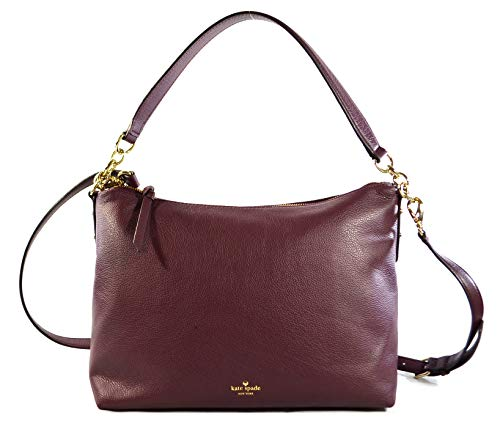 Kate Spade Alena Larchmont Avenue Leather Women's Medium Crossbody Bag Purse Handbag, Deep Plum