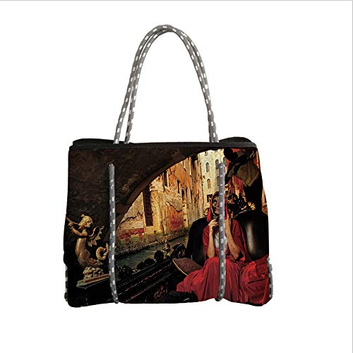 iPrint Neoprene Multipurpose Beach Bag Tote Bags,Venice,Young Woman with a Red Cloak and Carnival Mask Riding on Antique Gondola,Red Black Light Brown,Women Casual Handbag Tote Bags