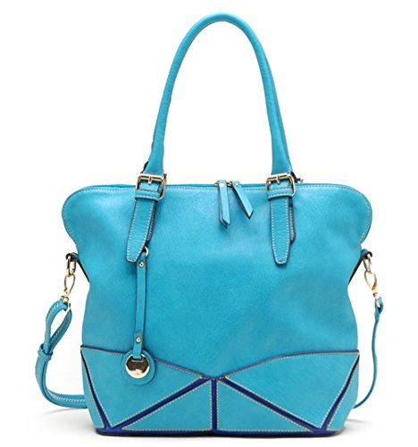 Tosca USA, 2-Color Blue Etched Tote w/Strap- Blue Sky