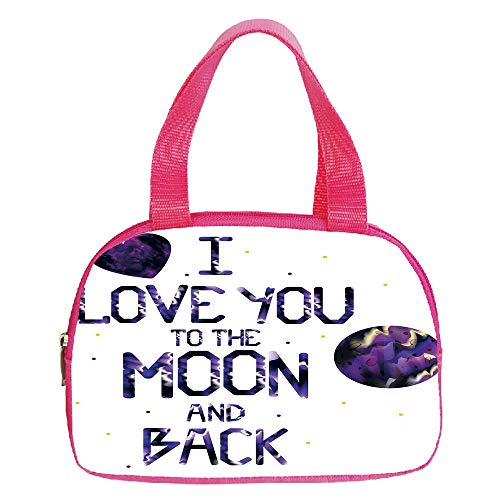 Multiple Picture Printing Small Handbag Pink,I Love You,Universe and Planetary Moon Heart Love Concept Milky Way Stylized Illustration Decorative,Dark Purple,for Girls,Comfortable Design.6.3″x9.4″x1.6