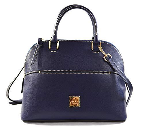 Dooney & Bourke Carter Satchel Saffiano Leather Crossbody Bag Purse Handbag, Marine