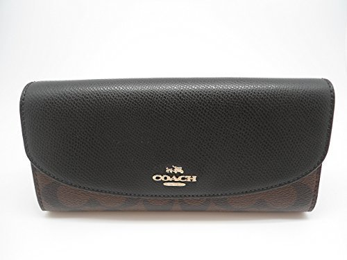 Coach Signature PVC Slim Envelope Wallet IM/Brown/Black