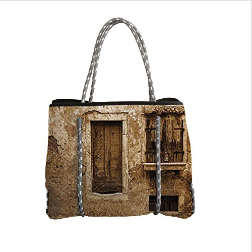 iPrint Neoprene Multipurpose Beach Bag Tote Bags,Shutters Decor,Vintage Photo of Old House After War Traditional European Window Image Home Decor,Brown Creme,Women Casual Handbag Tote Bags