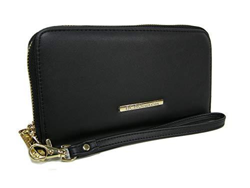 New BCBG Generation Logo Wristlet Wallet Purse Hand Bag Black Gold Allison