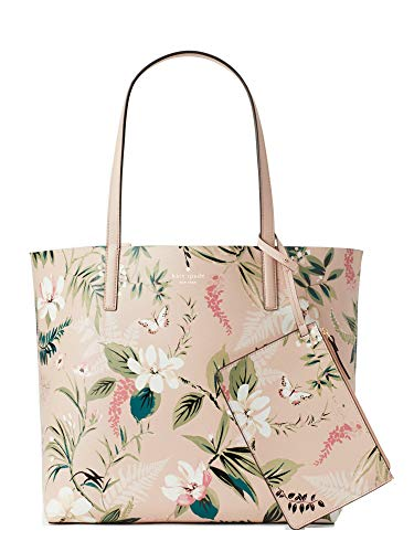Kate Spade Women's Pink Arch Place Mya Botanical Reversible Handbag Leather Bag