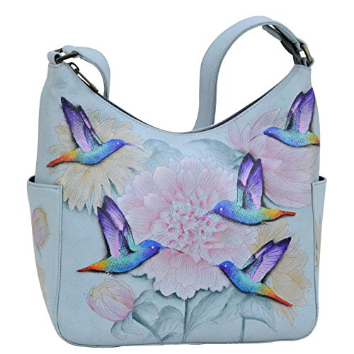 Anuschka Women's Genuine Leather Handbag | Classic Hobo With Side Pocket | Rainbow Birds
