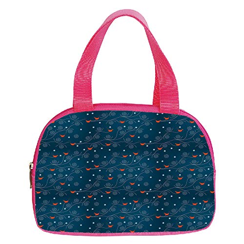 iPrint Increase Capacity Small Handbag Pink,Winter,Cute Orange Birds on Leafless Tree Branches Snowy Woods Artful Nature,Petrol Blue Orange White,for Girls,3D Print Design.6.3″x9.4″x1.6″