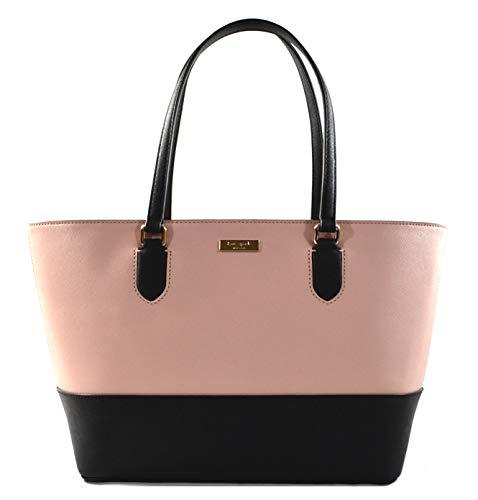 Kate Spade Medium Dally Laurel Way Saffiano Leather Tote Shoulder Bag Purse Handbag, Color Block Pink Black